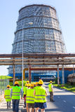 Part of thermal power plant. Water-cooling tower. Stock Photos