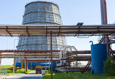 Part of thermal power plant. Water-cooling tower. Stock Photo