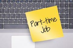 Part-time Nota over Toetsenbord Stock Fotografie