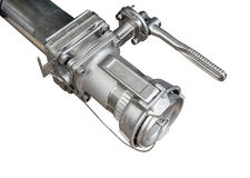 Part to a machine. Tap of metal. part of a machine carrying liquids. large fragment stock image
