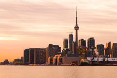 Part of the Toronto Skyline from the East at sunset royalty free stock image