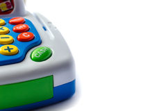 Part of toy cash register.On a white background, Isolated on white. Stock Photos