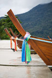 Part of traditional longtail boat on the beach Royalty Free Stock Photography