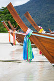 Part of traditional longtail boats on the beach Stock Photos