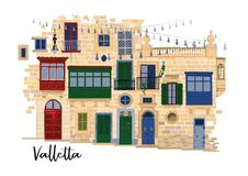 Part of traditional maltese houses in Valletta made of sandy stone bricks with various doors, windows and balconies