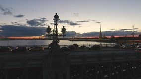 Part of Trinity Bridge , Neva river. Russia, St. Petersburg. Sunset in the city. Evening stock video footage