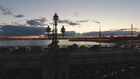Part of Trinity Bridge , Neva river. Russia, St. Petersburg stock video footage