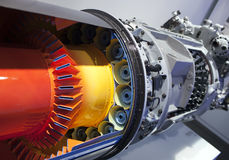 Part of the turbine of the engine of the plane.  Stock Image