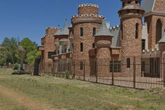 Part of turret and steeples in Chateau de Nates, South Africa. Chateau de Nates is located in Magalies region not far of Johannesburg, South Africa Royalty Free Stock Photography