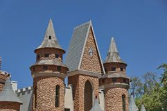 Part of turret and steeples in Chateau de Nates, South Africa. Chateau de Nates is located in Magalies region not far of Johannesburg, South Africa Royalty Free Stock Photos