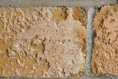 Part of Two Brown Bricks. Uneven portion of two light brown bricks with dried mortar. Close up. Horizontal Stock Photos