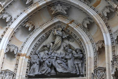 Part of tympanum St. Vitus Cathedral Stock Photo