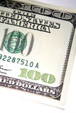 Part of US 100 dollar bill. A view of the right side of a fresh, new crisp 100 dollar bill, USD or banknote stock photos