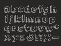 Vector hand drawn alphabet lowercase. Part 2 of 3. Vector hand drawn alphabet chalk doodle with hatching isolated on black background, abc sans serif symbols Royalty Free Stock Photography