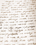 Part of a very old letter. Very old handwritten letter. Shallow depth of field Stock Photo
