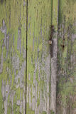 Part of very old wooden door with peeling green paint and rusty stock image