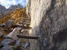 A part of via ferrata made with iron rods Stock Images