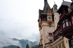 Part view of Peles Castle on a cloudy day Royalty Free Stock Photography