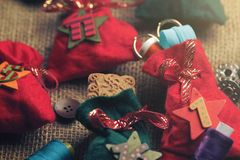 part view on traditional advent calendar with small fabric bags for individual filling - sewing accessory Royalty Free Stock Photo