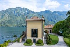 A part of Villa Balbianello with mountains. On background. Lake Como, Italy stock photos