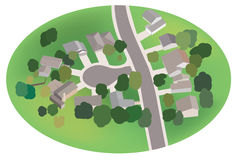 Part of village - vector street with houses - airv Stock Photography