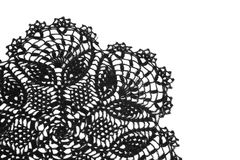 Part of the vintage crochet doily black Stock Photo