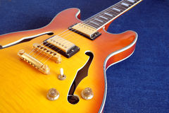 Part of vintage semi-hollow body electric guitars Royalty Free Stock Photos