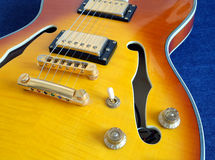 Part of vintage semi-hollow body electric guitars Stock Photos