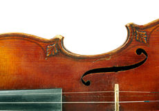 Part of violin. Part of vintage violin on white background Royalty Free Stock Image