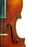 Part of violin. Part of vintage violin on white background Stock Photography
