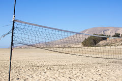 Part of the volleyball net. Active day at beach. Sport background Stock Images