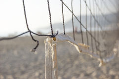 Part of the volleyball net. On tje sea beach Royalty Free Stock Photography