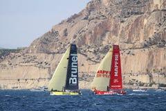 A part of VOR fleet sailing after start Leg 1 Alicante-Lisbon Royalty Free Stock Photo