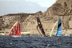 A part of VOR fleet sailing after start Leg 1 Alicante-Lisbon Stock Photo