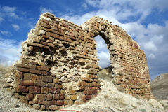 Part of the wall. Ruins in Bayburt fortress in Turkey Stock Photos