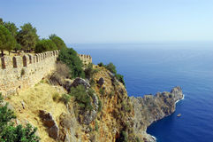 Part of wall (Alanya castle). Beauty sea landscape Royalty Free Stock Image