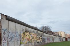 Part of the wall in berlin cloudy sky dull royalty free stock photos