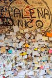Part of the wall covered with love messages in Juliet house, Verona, Royalty Free Stock Photo