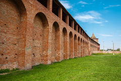 Part of the wall of the Kolomna Kremlin(inside). Part of the Kolomna Kremlin walls and marinkina tower, view from inside royalty free stock photos