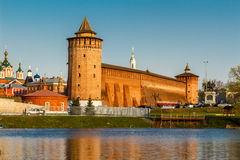Part of the wall of the Kolomna Kremlin and two towers. Part of the Kolomna Kremlin walls and Marinkina and Granovitaya tower royalty free stock images