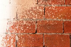 Part of the wall of red brick, spattered with white paint. Close-up Stock Image