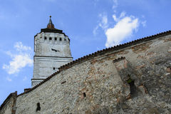 Part of wall and tower Rotbav Fortified Church, Brasov,  Transylvania, Romania Stock Images