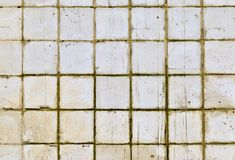 Part of the wall of white tiles of the old building. Toning.  royalty free stock images