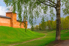 Part of the walls of the Kremlin in Veliky Novgorod Royalty Free Stock Photos