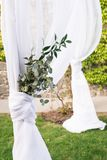 Part of wedding arch decorated with beautiful bunch of eucalyptus. Details. Part of wedding arch decorated with beautiful bunch of eucalyptus. Detail Royalty Free Stock Photo