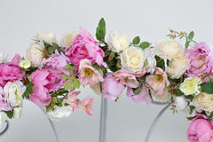 Part of wedding arch with pink and white flowers Stock Photos