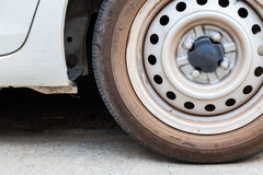 Part of wheel car with old tires.  Stock Photos