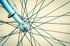 Part of wheel. Close up of bicycle wheels process in vintage retro style