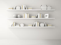 Part of white color Interior with book shelf 3D rendering Stock Images
