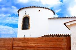 Part of white mediterranian house in Spain stock image
